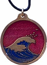 product image for Hokusai Wave Round Red and Blue Enamel Pendant Necklace on Adjustable Natural Fiber Cord
