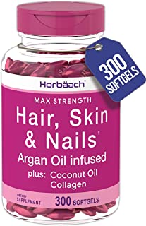 Hair Skin and Nails Vitamins | 300 Softgels | with Biotin and Collagen | Infused with Argan Oil and Coconut Oil | Non-GMO,...