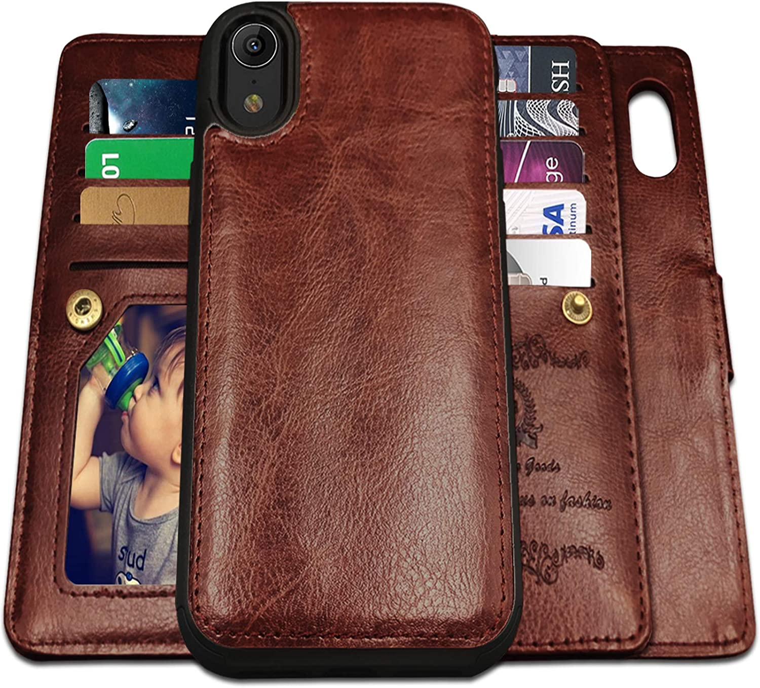 iPhone XR Cases, Magnetic Detachable Lanyard Wallet Case with 9 Card Slots, Kickstand, Hnad Strap for iPhone XR (2018 Released), CASEOWL 2 in 1 Folio Flip Premium Leather Removable TPU Case(Brown)