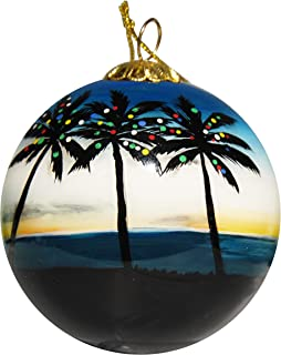Art Studio Company Hand Painted Glass Christmas Ornament - Palm Trees with Lights Key West