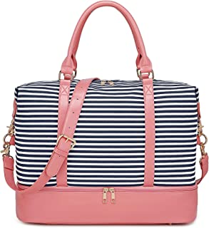 BLUBOON Weekender Bag Women Ladies Overnight Carry-on Tote Canvas Travel Duffle Bag in Trolly Handle Bag with Shoe Compartment (289 Pink -Blue Stripe)
