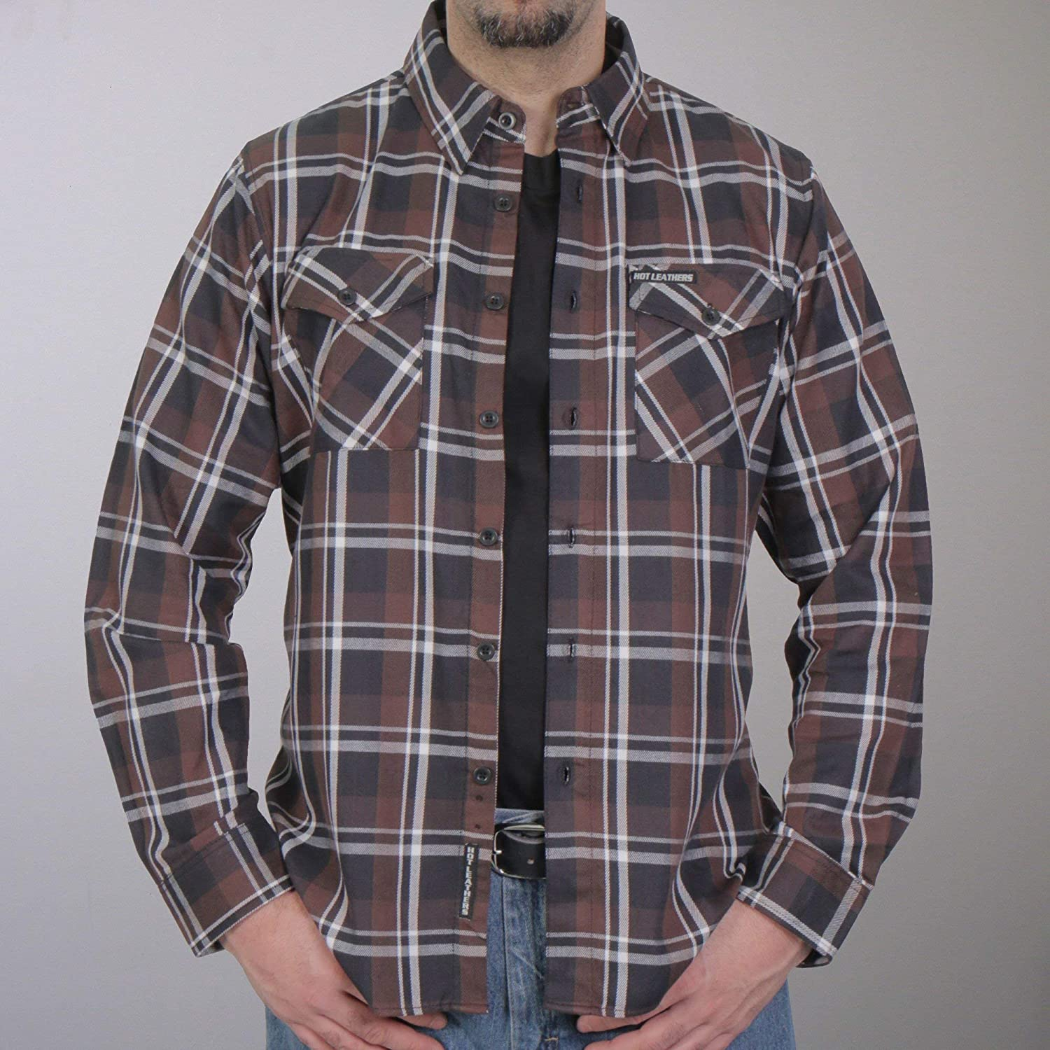 Hot Leathers FLM2008 Mens Brown Black and White Long Sleeve Flannel Shirt