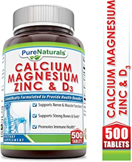 Pure Naturals Calcium Magnesium Zinc + Vitamin D3-500 Tablets –Supports Nerve & Muscle Function, Supports Strong Bones and Teeth, Promotes Immune Health
