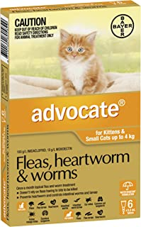 Advocate Flea, Heartworm and Worm Control for Small Cats, Orange, 6 Pack