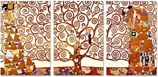 DECORARTS- The Tree of Life by Gustav Klimt (Triptych). Classic Art Giclee Prints Canvas Art for Wall Decor. 60x30
