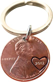 JewelryEveryday 2012 Penny Keychain with Heart Around Year; Engraved Couples Keychain, 7 Year Anniversary