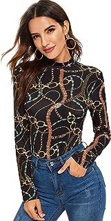 SweatyRocks Women's Basic Long Sleeve Mock Neck Slim Fit Print Tees Shirts Top