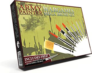 The Army Painter Wargames Mega Brush Set - 10 Miniature Paint Brushes Including Free Masterclass Kolinsky Sable Hair Brush and Detail Paint Brush with Fine Tip - Miniature Painting Kit for Wargamers