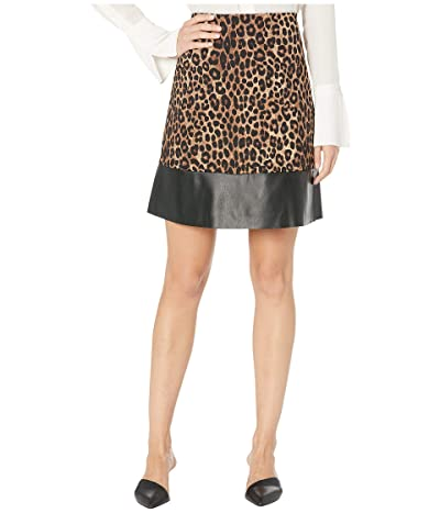 MICHAEL Michael Kors Cheetah Leather Mini Skirt (Dark Camel) Women