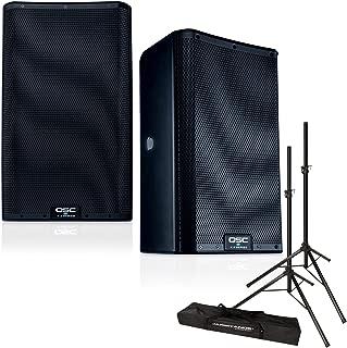 QSC K10.2 10-Inch 2000 Watt Powered Speakers (Pair) with Speaker Stands