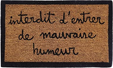 laroom Doormat Design Interdit D 'Entrer de Mauvaise humeurnatural, Coir and PVC, Brown, 40 x 70 x 1.8 cm
