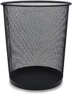 Poubelle en métal noir pour bureau, panier pour déchets de papier et plastique 12 L, poubelle ronde Ø 26,5 cm pour salle d...