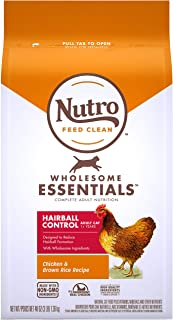NUTRO WHOLESOME ESSENTIALS Adult Hairball Control Natural Dry Cat Food Farm-Raised Chicken & Brown Rice Recipe, 3 lb. Bag