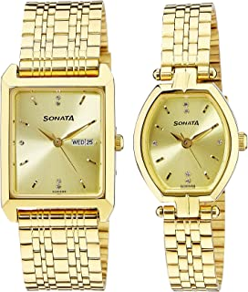 Titan Unisex Analog Gold Color Dial Couple's Watch