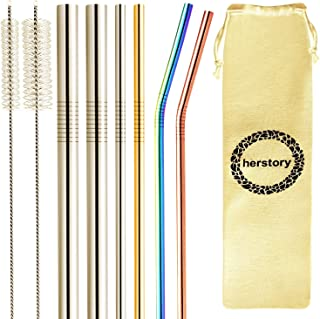 Herstory Premium Stainless Steel Reusable Drinking Metal Straws 6 Pack Variety Metal Straw, FDA Tested BPA Free-2 Large 2 Straight 2 Bent -20oz 30oz 40oz with 2 Cleaning Brushes 1 Cotton Carry Case