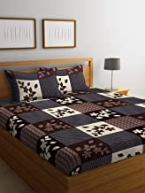 IVAZA Premium 144 TC Polycotton Brown Double Bedsheet with 2 Pillow Covers