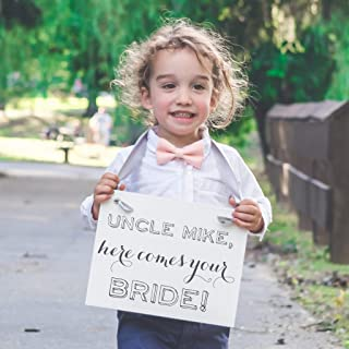 Uncle Here Comes Your Bride - Custom Wedding Sign {Personalized with Custom Groom's Name} Handcrafted Accessory Made in the USA for Niece or Nephew of Groom | Ring Bearer Flower Girl Signage