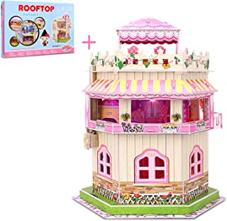 3D Puzzle Dollhouse for Kids, Girls Jigsaw Puzzles Doll House Building Kit - Educational Paper Craft Toys Game Xmas Birthday Gifts Easy to Assemble Miniature Houses with LED Light - 101 Pieces