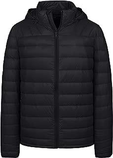 Men's Winter Packable Lightweight Down Jacket Coat with Removable Hood
