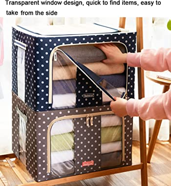 AILY Foldable Storage Basket with Lids,Storage Box with Carry Handles,with Clear Window for Bedroom Home Closet-B