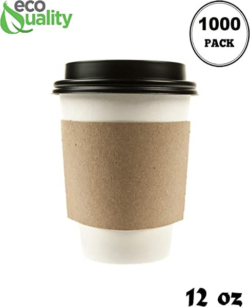 1000 Pack 12 Oz Disposable White Paper Coffee Cups With Black Dome Lids And Protective Corrugated Cup Sleeves Perfect Disposable Travel Mug For Home Office Coffee Shop Travel Tea