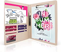 AHGXG Padfolio/Resume Portfolio Folder - Interview/Letter Document Organizer & Business Card Holder - with Letter-Sized Writing Pad Professional Gift for Business, Interview, Resume - Pink