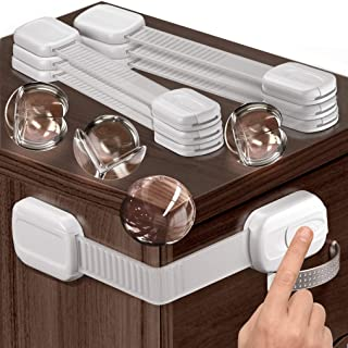 Multipurpose Baby Safety Child Cabinet Lock Latch - Set of 6 Adjustable Locks & 4 Corner Guards - Cupboard Lock to Safegua...
