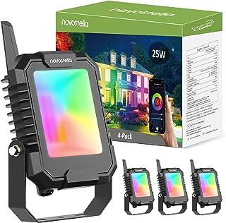 Novostella BLink Smart LED Flood Light RGB+CW 25W 4Pcs 2700K-6500K, Floodlights Outdoor Color Changing Spotlights APP Cont...