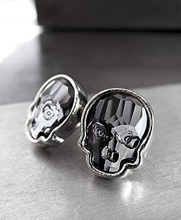Black Skull Stud Earrings with Swarovski Crystal, Unisex Mens Womens Post Earrings