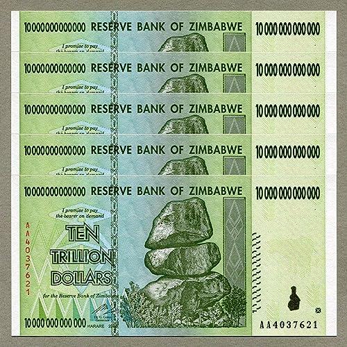 RBZ Collectibles Zimbabwe 10 Trillion Dollars x 5 pcs AA 2008 P88 Consecutive UNC Currency Bills