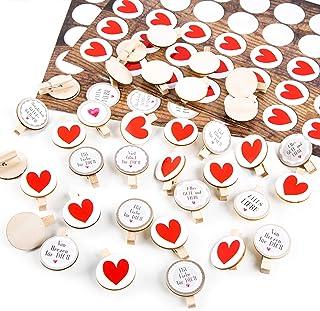 Logbuch-Verlag Set de 35 pegatinas de corazón + 35 pegatinas de felicitación + pinzas de madera con disco de madera para m...