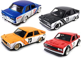 HCK Set of 4 1973 Datsun 510 w/ Wide Body Kit JONSIBAL - Pull Back Toy Cars 1:32 Scale (Black, Orange, Red, Blue)