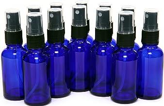 12, Cobalt Blue, 1 oz Glass Bottles, with Black Fine Mist Sprayers