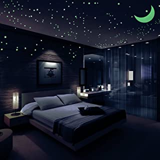 Airbin Glow in The Dark Stars Decals Stickers Pack of 446,408 Stars,1 Moon, 36 Meteor Tail and 1 Constellation Guide,Lumin...