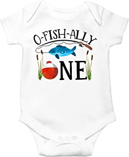 O-Fish-Ally One Bodysuit for Baby Boys Fishing Themed First Birthday Outfit