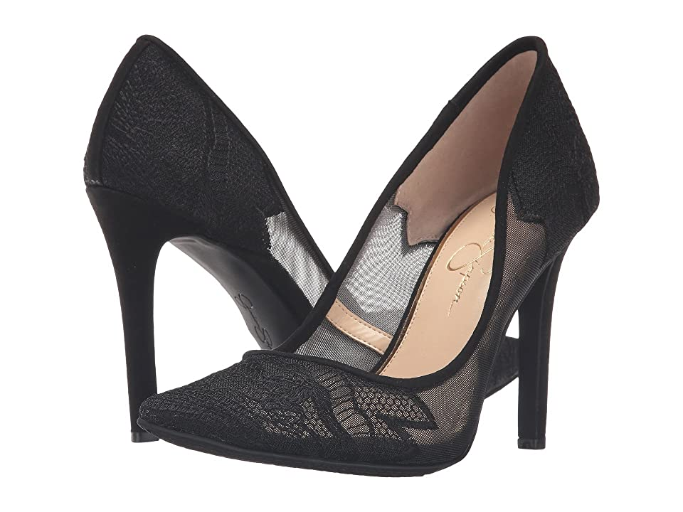 Jessica Simpson Camba (Sheer Black Fine Mesh Microsuede) High Heels