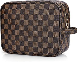 Sholov Cosmetic Bag Luxury Checkered Makeup Bag for Women Multifunctional Portable Leather Travel Organizer Brown