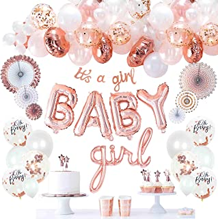 VIDAL CRAFTS Rose Gold Baby Shower Decorations for Girl, It's a Girl Banner, BABY Girl Foil Balloons, 36 Pieces Balloon Ar...