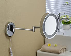 DOLPHY One Side 5X Magnifying LED Lighted Shaving and Makeup Mirror, 8-inch (Silver)