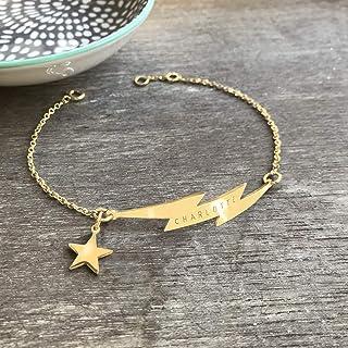 Braccialetto Fulmine Personalizzato Oro con Stella, braccialetto fulmine, gioielli celesti, regalo di anniversario, regalo...