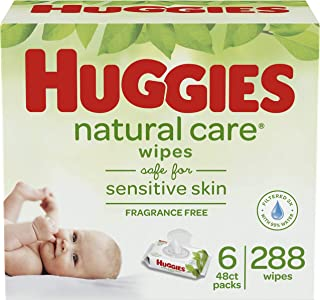 HUGGIES Natural Care Unscented Baby Wipes,  Sensitive,  6 Disposable Flip-top Packs (288 Total Wipes)