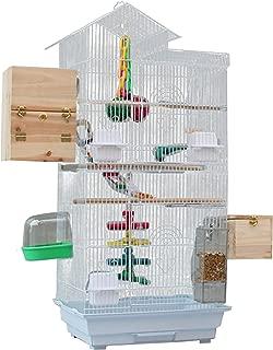 Aeon hum 鳥かご 鳥ケージ 大型 豪華ケージ 3段階 大きい インコ オウムケージ オカメ セキセイ ボタン コガネメキシコ コザクラ マメルリハ ウロコ アキクサ 100x36x46 (ホワイト)