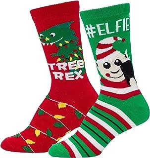 Mens & Womens Fun Novelty Holiday Christmas Hanukkah Crew Socks-2 Packs- 1 Size Fits Most