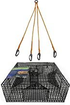 Promar Heavy Duty Shrimp Pot with 1-Inch Mesh and 4 Tunnels, 24x24x9-Inch and 4 Way Harness, Black TR-224K1