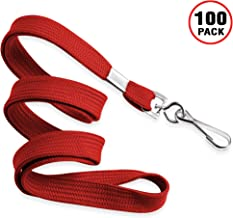 MIFFLIN Flat Lanyards for ID Badges (Red, 36 Inch, 100 Pack), Comfortable Neck Straps