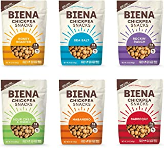 BIENA Chickpea Snacks Variety Pack | Gluten Free | Dairy Free | Vegetarian | Plant-Based Protein - 6 Bags (Packaging May V...