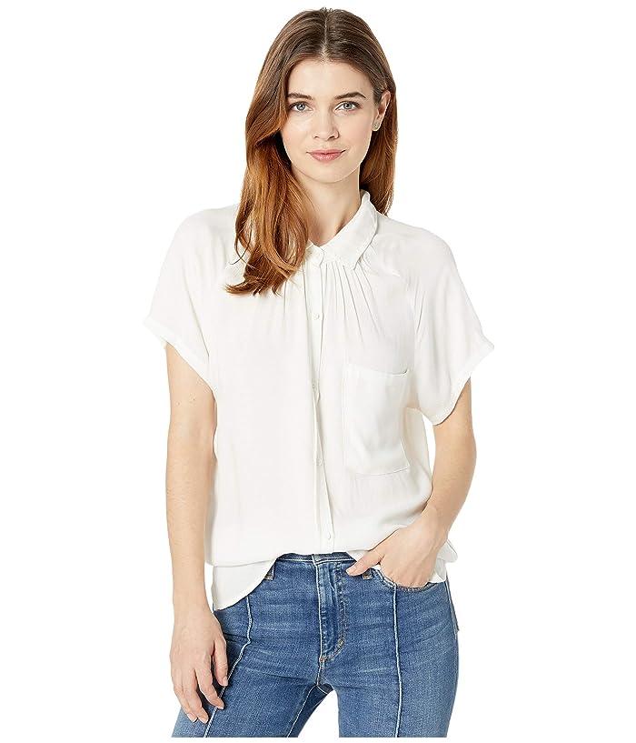 bobi Los Angeles  Raglan Button-Up Shirt in Rayon Crepe (Ivory) Womens Clothing