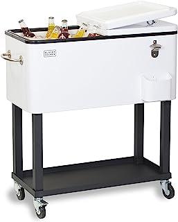 BLACK+DECKER, Mobile Cooler Cart, 2 Door Seal Lid, Bottle Opener with Catch Basin, Bottom Storage Tray, 4 Rolling Wheels, ...