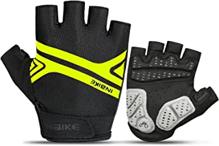 INBIKE Bike Gloves, Night Reflective 5mm Thick Pad Shockproof Breathable Palm Protection Mountain MTB DH Road Riding Cycling Gloves Men Women