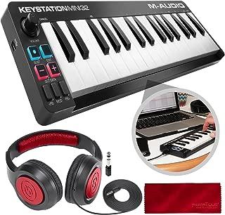 M-Audio Keystation Mini 32 MK3 Portable Mini-USB MIDI Controller with Stereo Headphones Accessory Bundle